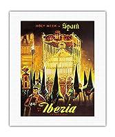 スペインの聖週間 - フライイベリア(スペインの航空会社) - ビンテージな世界旅行のポスター c.1950s - キャンバスアート - 41cm x 51cm キャンバスアート(ロール)