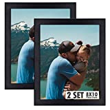 Golden State Art, Set of 2, 8x10 Black Wooden Picture Frame - Tabletop/Wall Display - Great for Group/Family Photos - Landscape/Portrait - Real Glass - Simple Classic Design
