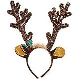 fun-filledクリスマスとホリデーパーティーReindeer Antler Headband、ブラウン、ファブリック、13 1 / 2