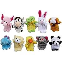 HKUN 10個入り パペットおもちゃ 指人形 動物 どうぶつ園 ごっこ 知育 演劇