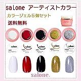【送料無料 日本製】Salone アーティスト カラージェル5個セット トレンドのラインアートにもピッタリなカラー