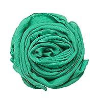 YiyiLai 薄手 マフラー キッズ 大判 ストール 子供 無地 綿麻 男の子 女の子 シンプル 深緑