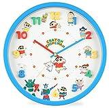クレヨンしんちゃん 掛け時計 アナログ 連続秒針 立体文字盤 ブルー