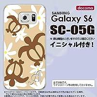 SC05G スマホケース Galaxy S6 カバー ギャラクシー S6 イニシャル ホヌ ティアレ ベージュ nk-sc05g-1081ini I