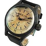 海軍航空隊 メンズ腕時計 帝国海軍時計 古美仕上げ復刻版ミリタリーウォッチ アンティーク錆加工 KT905123BK ブラック