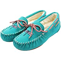 MOCCA BROWN Women's Moccasin Slippers Flat Loafer Driving Shoes/Memory Foam/Animal Embroi.