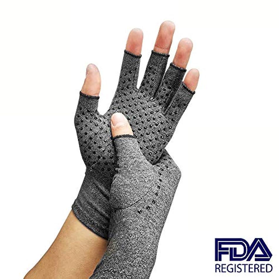 画像低い囲む圧縮関節炎手袋、関節リウマチおよび変形性関節症用の指なし手手袋-関節痛および心皮トンネルのリリーフ-男性および女性