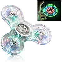 FIGROL LED Fidget Spinner,Clear LED Fidget Toy Crystal Led Light Fidget Spinner Rainbow Toy Finger Spinner Hand Spinner(Pebble)