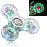 FIGROL LED Fidget Spinner,Clear LED Fidget Toy Crystal Led Light Fidget ...