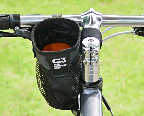 C3 自転車用ハンドルポーチ/ドリンクホルダー ステムサイドポーチ (チャコールグレー)