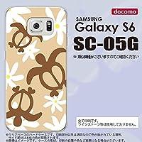 SC05G スマホケース Galaxy S6 SC-05G カバー ギャラクシー S6 ホヌ ティアレ ベージュ nk-sc05g-1081
