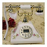 Antique ceramic telephone landline,home dial rotary landline style office classic creative metal fashion (Color : Hands-free backlight)