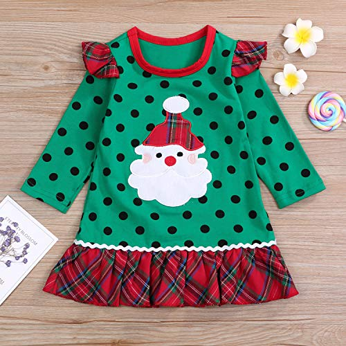 LYSmuch Christmas Outfit Toddler Baby Girls Dresses Kids Skirt Santa Claus Long Sleeve Clothing Set (3-4 Years, Green Christmas Skirt)
