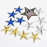 アイロン接着可 スター 刺繍ワッペン 13枚セット パッチ 星 アイロン貼り付けワッペン 5877-3