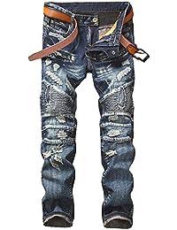 [プチドフランセ ] つぎはぎ メンズ ライダース ツーリング パンツ ダメージ ビンテージ デニム 30~38サイズ