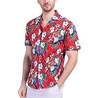 Boisouey Men's 100% Cotton Button Down Short Sleeve Hawaiian Shirt