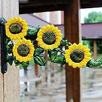 KTYX 牧歌的なヴィンテージ錬鉄製の太陽の花のフック コートハンガー
