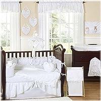 Sweet Jojo Designs 9-Piece Designer Solid all White Eyelet Baby Girl Bedding Crib Set [並行輸入品]