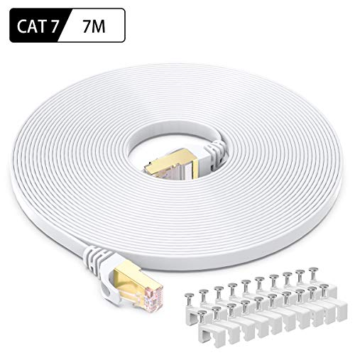 Flat Cat 7 Ethernet Cable Lan Network RJ45 Patch Cable Cord 10Gbps Ultra-Speed