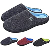 BCTEX COLL Men's Chambray Side Seam House Slippers, Two-Tone Contrast Designed with Soft Memory Foam House Shoes with Non-Slip Rubber Sole
