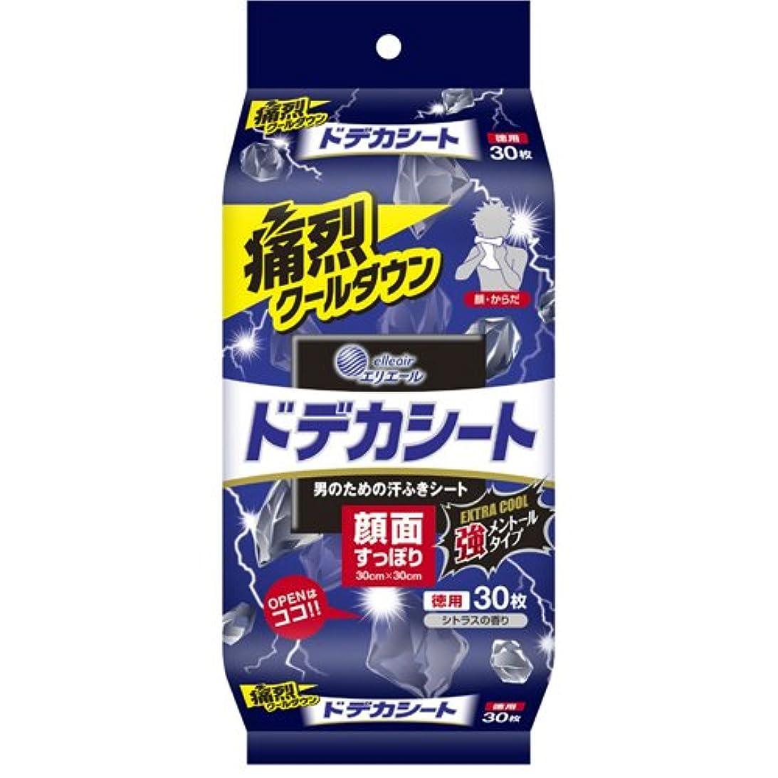 採用現象ショート大王製紙 ドデカシート 男のための汗ふきシート エクストラクール 強メントール シトラスの香り 徳用 30枚 E505716H
