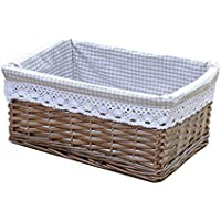 RURALITY Willow Wicker Storage Basket with Liner, Coffee Color, Large by Rurality