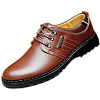 Gaorui Men's Synthetic Leather Lace-Up Oxfords Shoes Dress Shoes Formal Leather Shoes Casual Classic Brogue Shoes