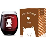 Stemless Wine Glass (Best Cat Mom Ever) Made of Unbreakable Tritan Plastic and Dishwasher Safe - 16 ounces