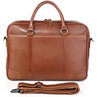 Genda 2Archer Men's Retro Real Leather Messenger Bag For Laptop Briefcase Satchel Shoulder Bag 42*7*29 cm Brown