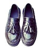 [RSWHYY] レディース オクスフォード シューズ ウィングチップ 春秋 美脚 ファッション イギリス風 厚底靴 タッセル ビジネスブーツ おじ靴 ローファー おしゃれ 通勤 通学 ブラック 24.5cm