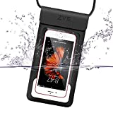 ZVE® 完全防水ケース IP68規格 指紋認証対応 スマホ 防水ポーチ iphone x ケース iphone8/8 plus iPhone SE/5/5s/6/6s /Plus/7/7 plus Sony/Samsung/Huawei/LGなど6インチ以下全機種対応 高感度タッチスクリーン ネックストラップ付(ブラック)