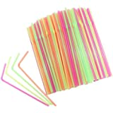Bullidea 100x Plastic Drinking Straws Multicolor Pipette Disposable Extra Long Plastic Straws