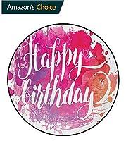 誕生日ラウンドカーペット 抽象的な水彩画スプラッタハンドペイントスタイル芸術的なお祝いのテキスト印刷するアイリスプラザ 屋内用フロアマットピンクレッドオレンジ(直径-150cm)