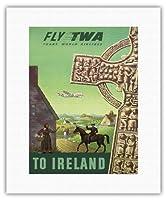 アイルランドへ - TWA (トランス・ワールド航空)で飛ぶ - ケルト十字 - ビンテージな航空会社のポスター によって作成された S・グレコ c.1950s - キャンバスアート - 28cm x 36cm キャンバスアート(ロール)