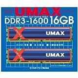 UMAX デスクトップ DDR3メモリー 16GB (8GB 2枚) PC3-12800 DCDDR3-16GB-1600