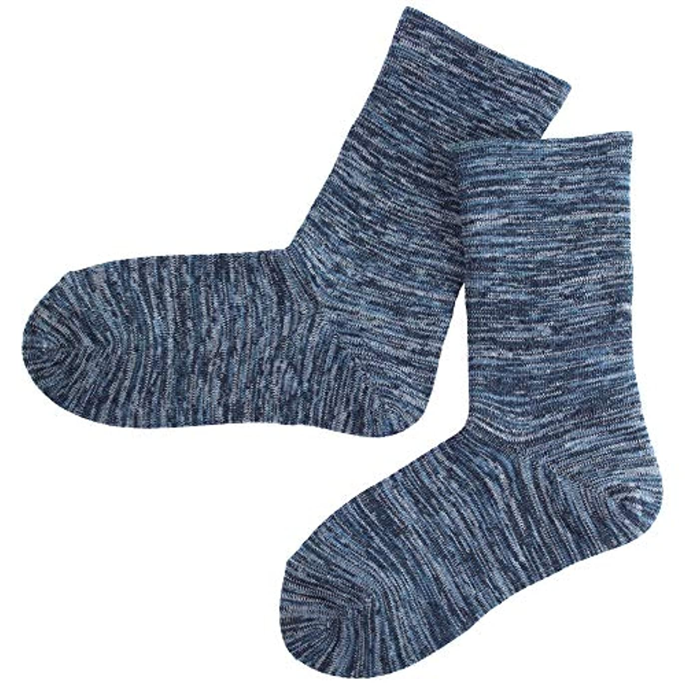 さらにアセ祝う温むすび かかとケア靴下 【足うら美人ゆったり楽々タイプ 女性用 22~24cm ネイビーブルー】 ひび割れ ケア