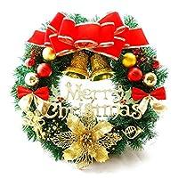 クリスマスデコレーションリース30cmクリスマスリースドア掛けクリスマスプレゼントクリスマスつるリングPVCクリスマスリース-多色