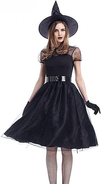 魔女 コスプレ ハロウィン 悪魔 巫女 女王 吸血鬼 コスチューム 衣装 仮装 大人 変装 ウィッチ 衣装 (M)
