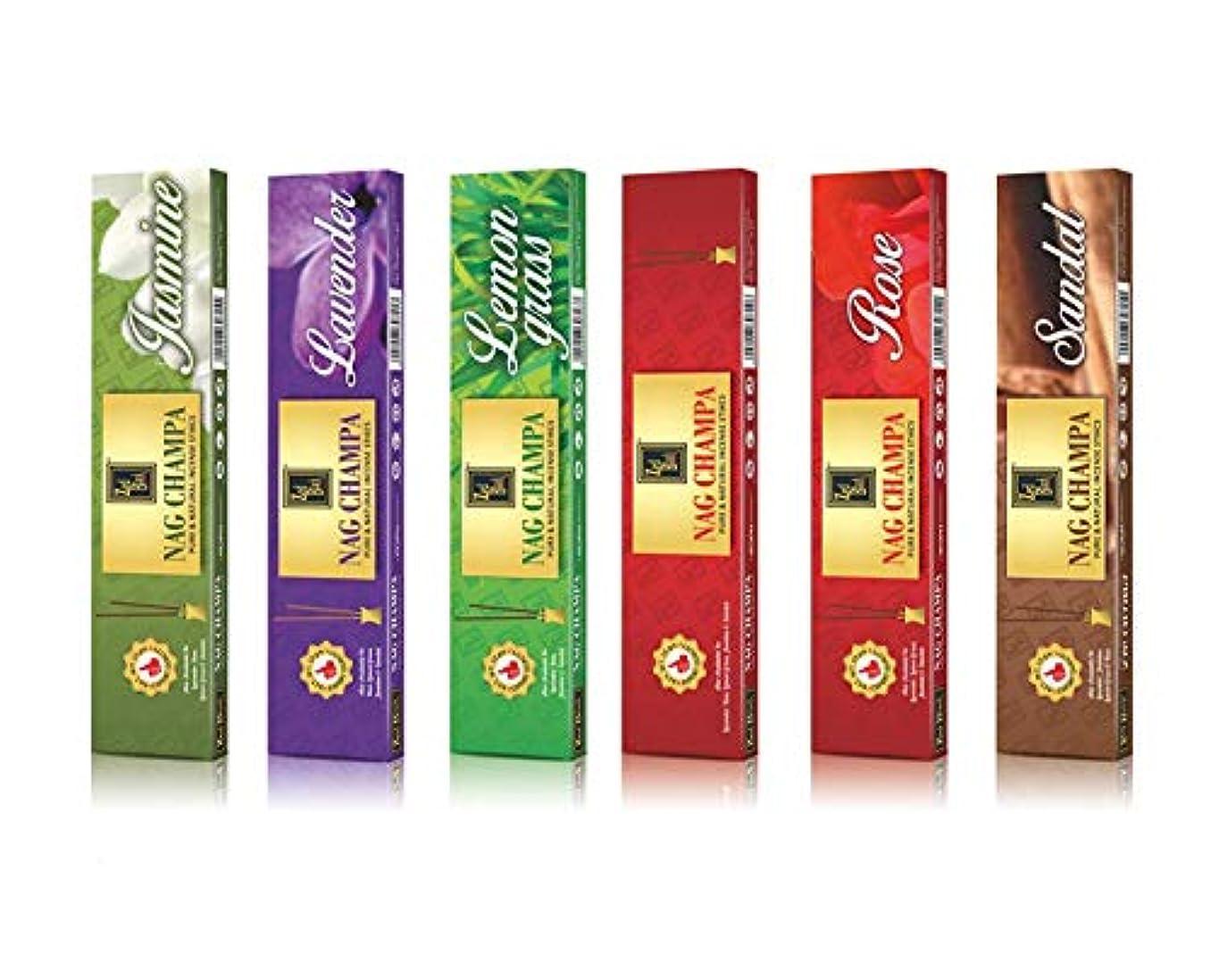 険しいアルコール活性化するNagchampaプレミアム天然香料Sticks – 6のパック(10 Sticks perボックス)