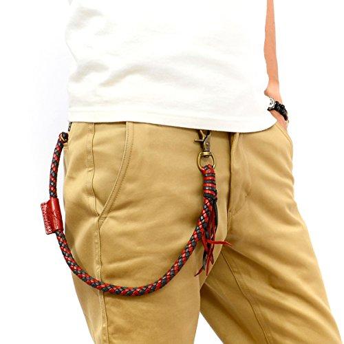 (テッドマン) TEDMAN 牛革 レザー ウォレットロープ 8本編み 日本製 ウォレットチェーン 財布 レッド ブルー エフ商会 TDWC-600