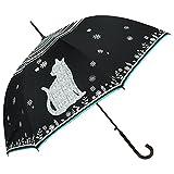 macocca(マコッカ) 晴雨兼用 UVカット 遮光率99% ビッグ猫柄 シルバーコーティング ジャンプ傘 ブラック
