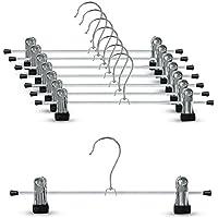 YOGeski ズボンハンガー スカートハンガー クリップ すべらない ハンガー 頑丈 便利なハンガー黒 ブラック 8本組 幅30㎝