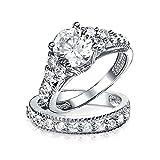 [ブリング・ジュエリー] Bling Jewelry 純銀スターリングシルバー925製 グレート・ギャツビー風 4爪留め CZ キュービックジルコニア 婚約指輪 結婚指輪セット [インポート]