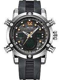 WEIDEラバーバンドクォーツスポーツmuti-functional腕時計アナログ&デジタル時間表示(オレンジ)