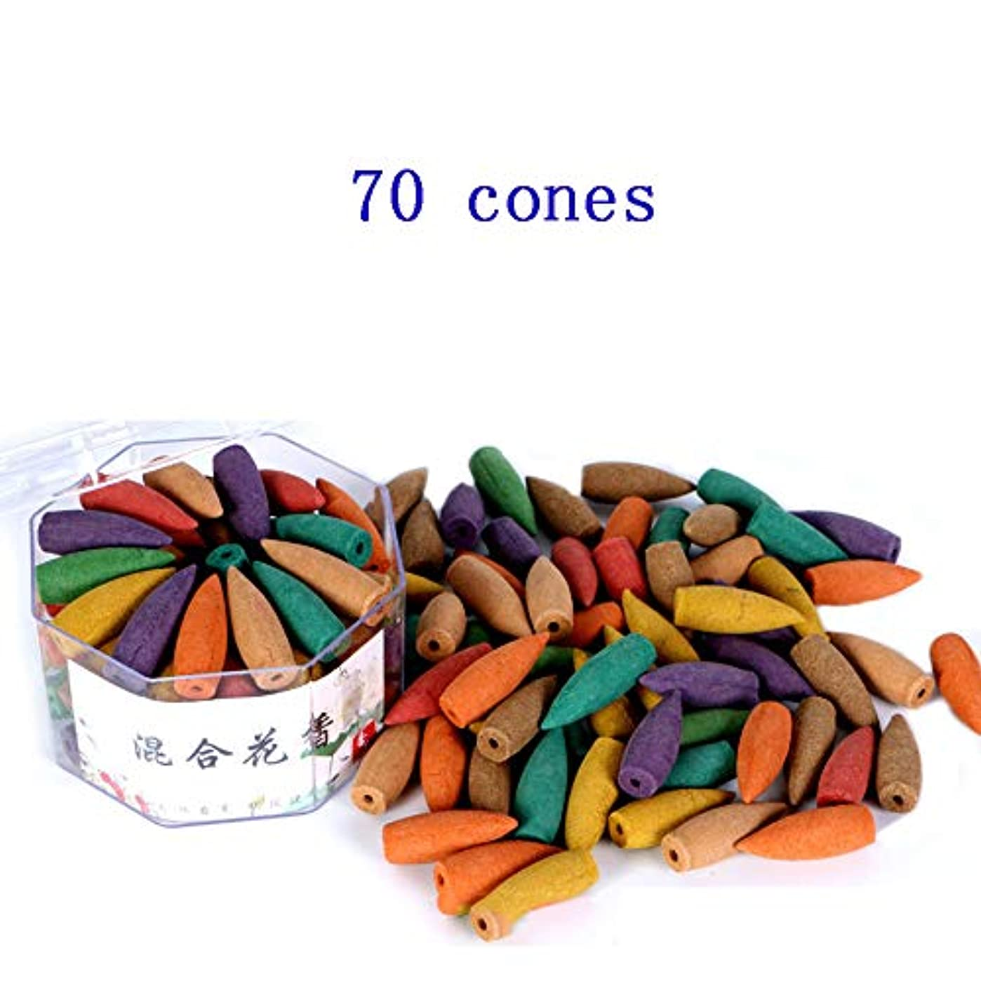 (In-70mixed) - Corcio 70pcs/box Lengthened Cone Tower Incense Backflow Incense Waterfall Cones for Incense Burner...