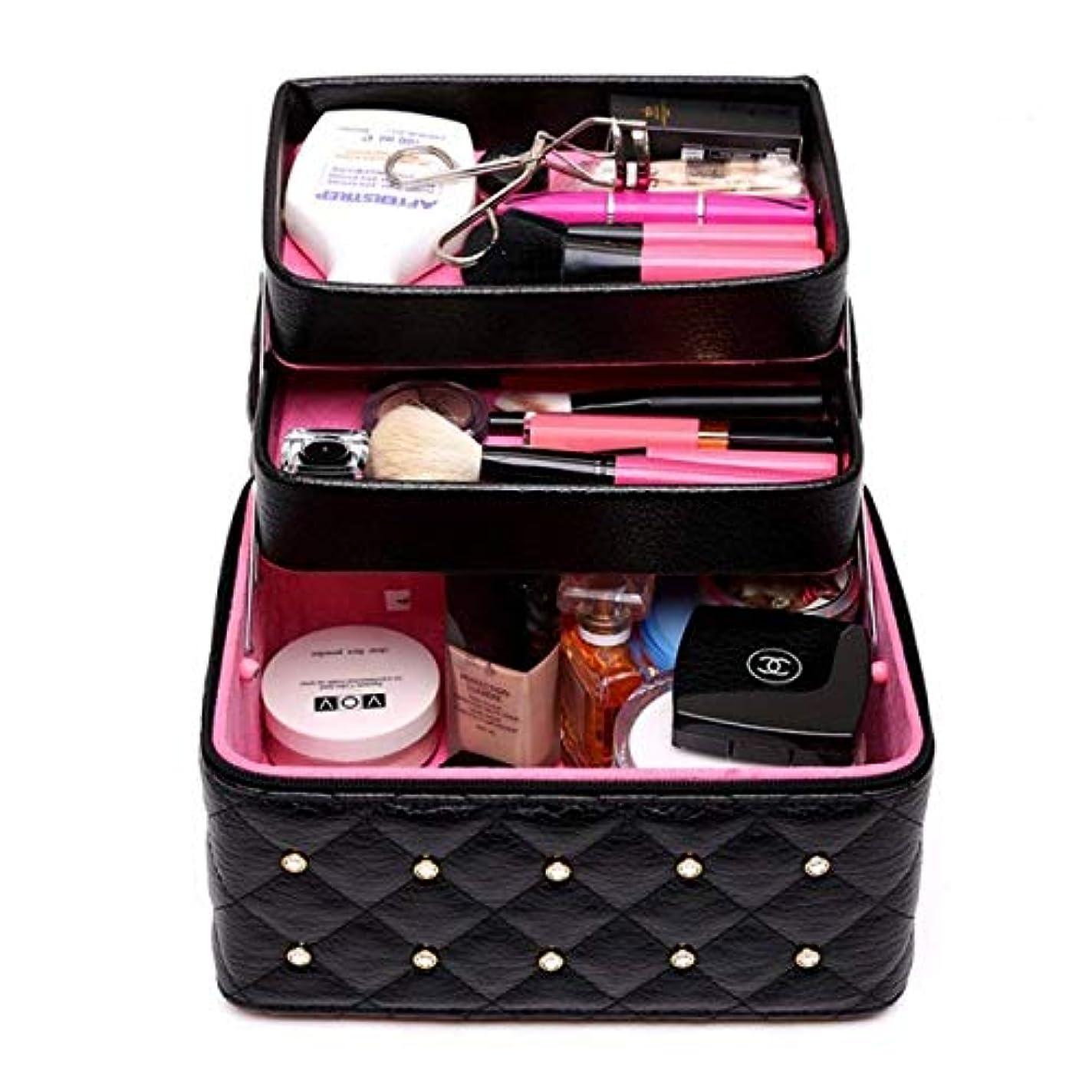 粘り強い伴う実現可能持ち運びできる メイクボックス 大容量 取っ手付き コスメボックス 化粧品収納ボックス 収納ケース 小物入れ (ブラック)