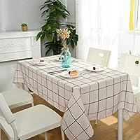 JPAKIOS テーブルクロスのシンプルな格子の綿とリネンの防油用長方形多目的布のアートコーヒーテーブルの装飾ホームテーブルクロス (Color : ベージュ, サイズ : 130*240CM)