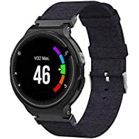 Canvas Band Compatible with Garmin Forerunner 220/230/ 235/630/ 620/735 - Hamkaw Soft Replacement Strap Smart Watch Accessories for Women Men Black