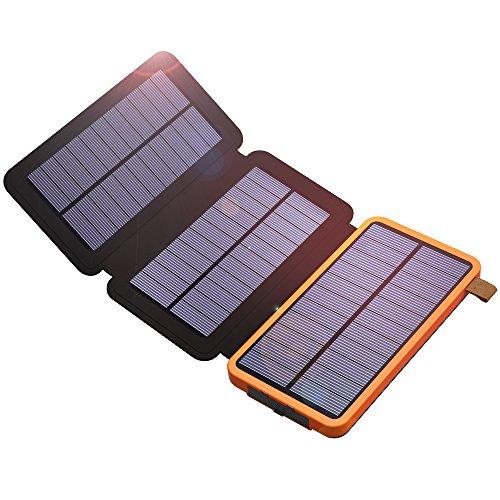 ソーラーチャージャー X-DRAGON 10000mAh超大容量モバイルバッテリーソーラーチャージャー 軽量 (10000mAh+2USB出力+LED懐中電灯+3枚パネル+SolarIQ急速充電) 地震 防災 旅行 ハイキングに大活躍 ソーラー充電器 (オレンジ)