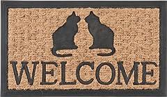 ラバー&コイヤー マット ウェルカム・キャット (サイズ:60x35cm) 玄関マット 天然素材 屋外マット 30197